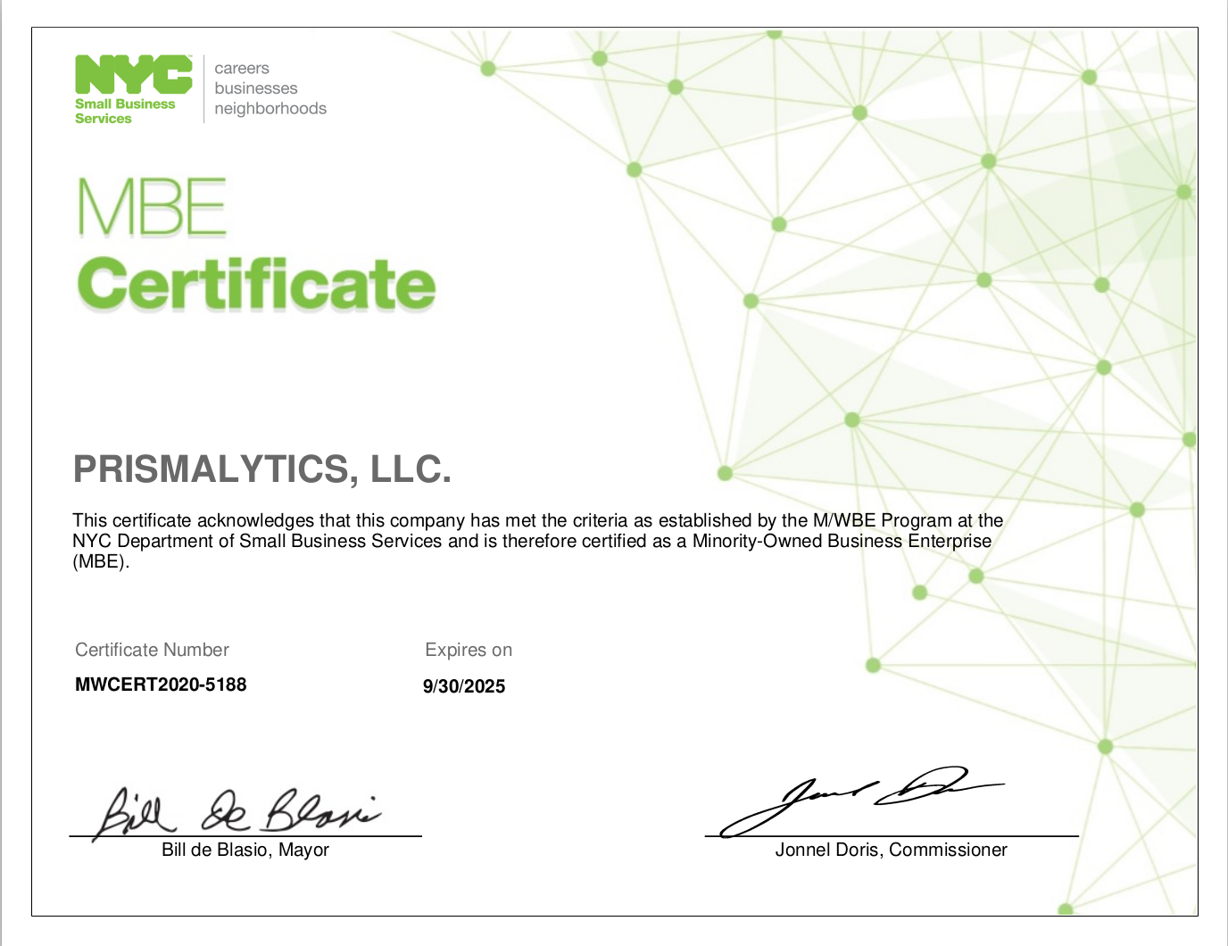 CITY of NEW YORK M/WBE CERTIFICATE for PRISMALYTICS, LLC.