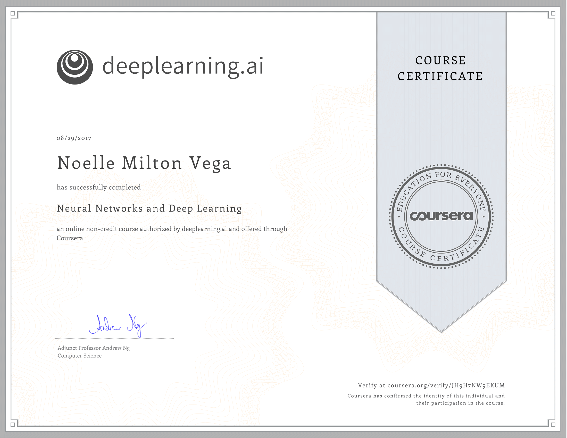 • COURSERA: NEURAL NETWORKS & DEEP LEARNING   ANDREW NG